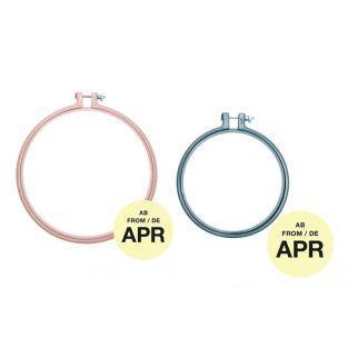 2 anneaux de broderie - rose poudré...