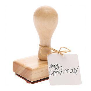 Merry Christmas timbro di legno