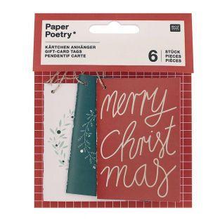 6 tarjetas colgantes Merry Christmas