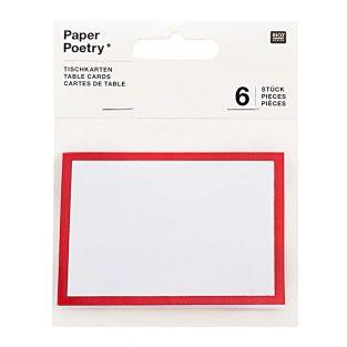 6 rot-weiße Platzkarten
