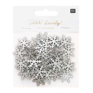 Silberne hölzerne Schneeflocken Konfetti