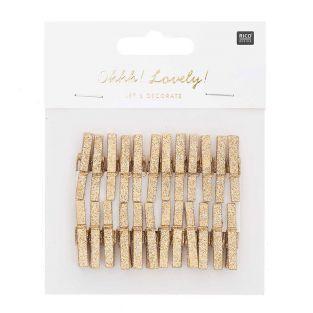 24 piccole clip in legno con glitter oro