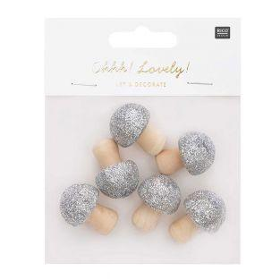 6 wooden mushrooms with silver glitter