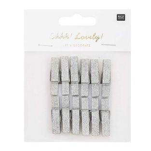 12 large silver glittery wooden clips