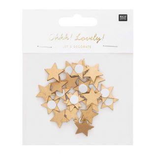 Golden wooden star stickers