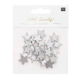 Silver wooden star stickers