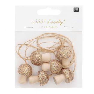 Pendants 6 golden wooden mushrooms