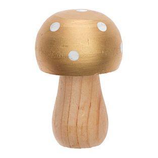 Champignon en bois doré
