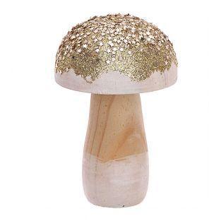 Petit champignon en bois doré