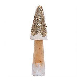 Grand champignon en bois doré