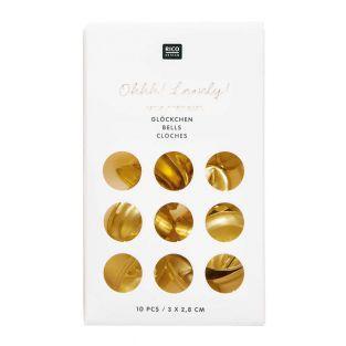 10 kleine goldene Metallglocken