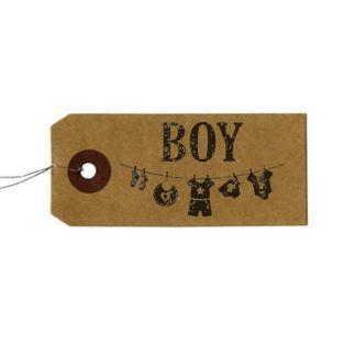 """Etichette kraft + Timbro di legno """"Boy"""""""