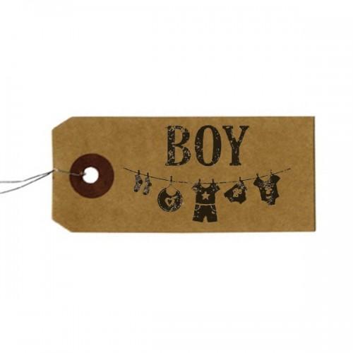 """Etiquetas kraft + Sello de madera """"Boy"""""""