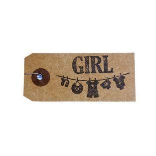 """Etichette kraft + Timbro di legno """"Girl"""""""