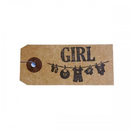 Etiquettes kraft + Tampon bois - Girl