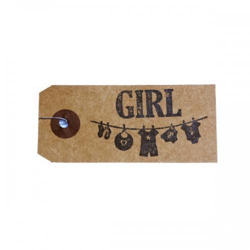 "Kraft labels + Wood stamps ""Girl"""