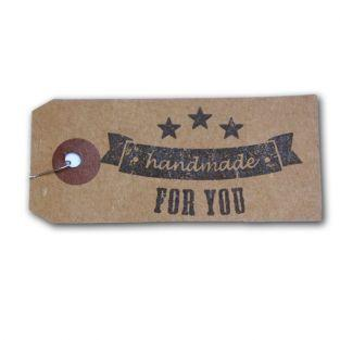 "Kraft labels + Wood stamps ""Handmade"""