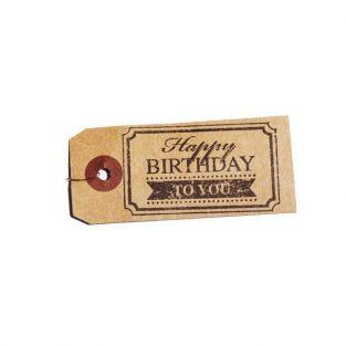 "Kraft labels + Wood stamps ""Happy..."