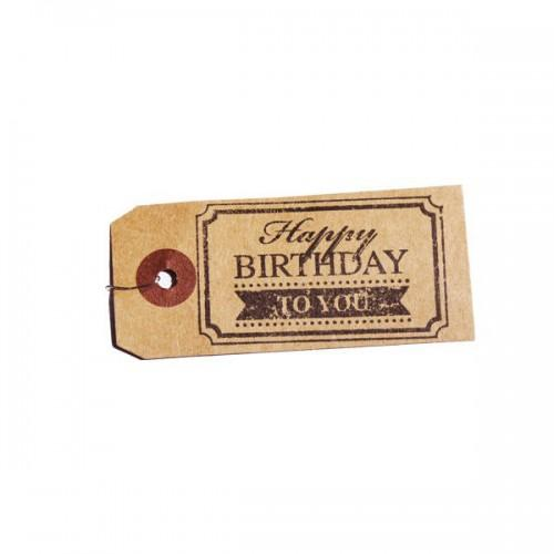 Etiquettes kraft + Tampon bois Happy birthday