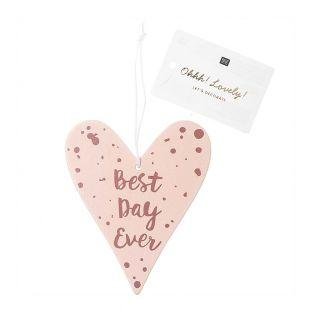 Wooden heart pendant with pink text