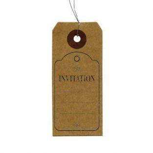 "Kraft labels + Wood stamps ""Invitation"""