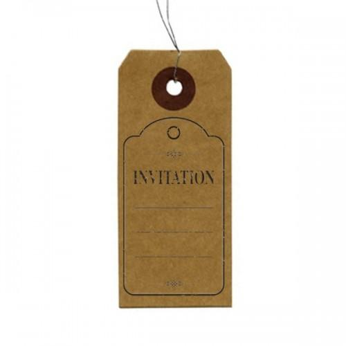 "Etiquetas kraft + Sello de madera ""Invitation"""