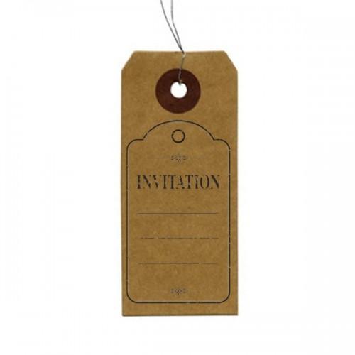 """Kraft labels + Wood stamps """"Invitation"""""""