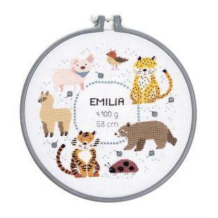 Zählstich Stickerei Geburt Tiere 25,4 cm