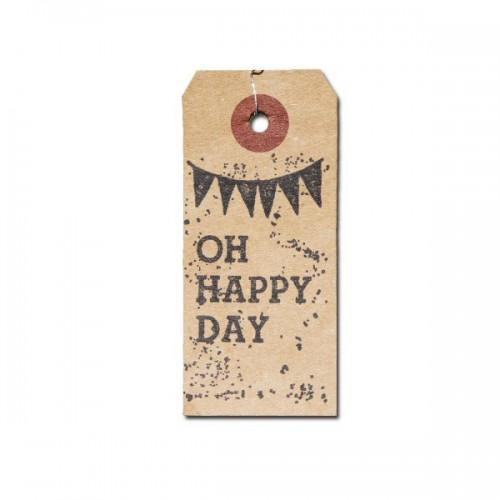 """Etiquetas kraft + Sello de madera """"Oh Happy Day"""""""