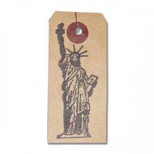 Etiquetas kraft + Sello de madera Estatua de la Libertad