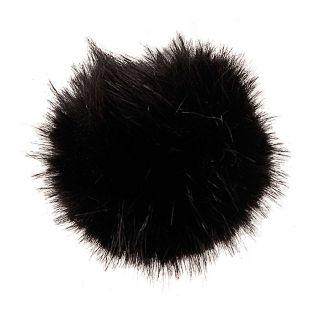 Black fake fur pompom