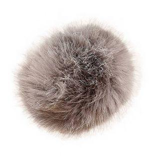 Gray fake fur pompom