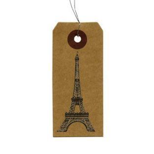 Etiquettes kraft + Tampon bois Tour...