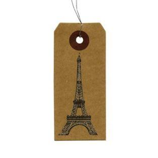 "Kraft labels + Wood stamps ""Eiffel..."