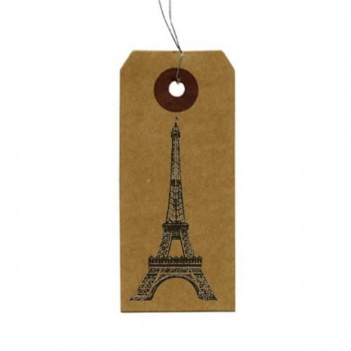 Etiquettes kraft + Tampon bois Tour Eiffel