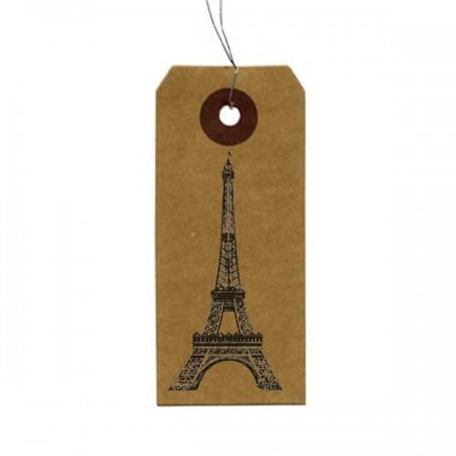 "Kraft labels + Wood stamps ""Eiffel Tower"""