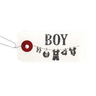 Etiquettes blanches + Tampon bois Boy