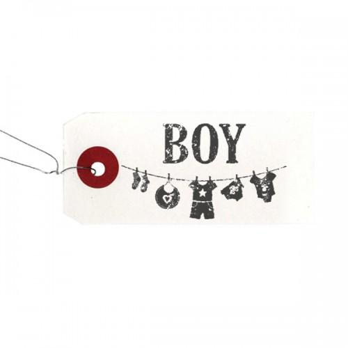 "White labels + Wood stamps ""Boy"""