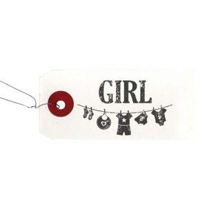 "White labels + Wood stamps ""Girl"""