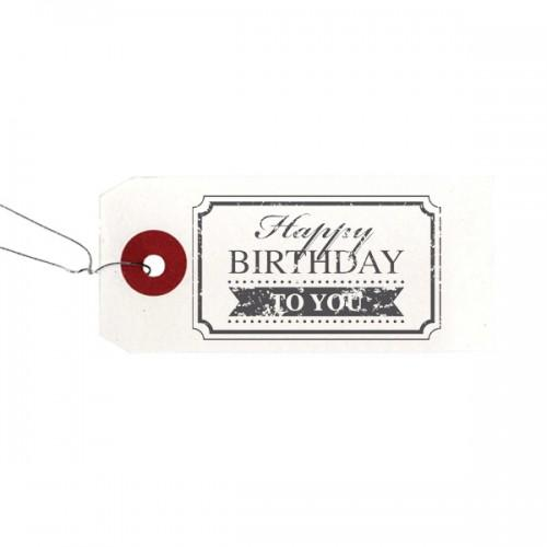 "Etiquetas blancas + Sello de madera ""Happy Birthday"""