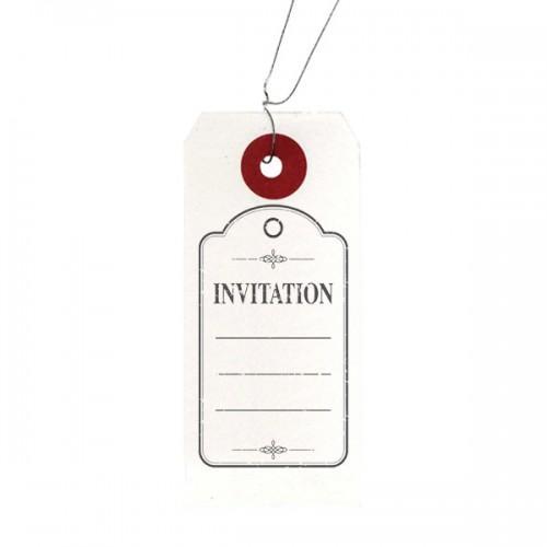 Etiquettes blanches + Tampon bois Invitation