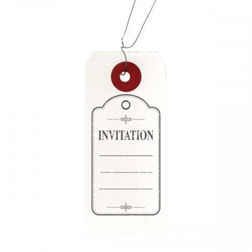 "White labels + Wood stamps ""Invitation"""