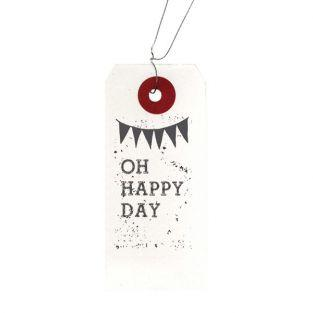 "White labels + Wood stamps ""Oh Happy..."