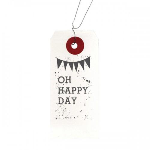 "White labels + Wood stamps ""Oh Happy Day"""