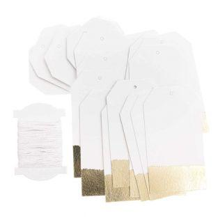 24 golden & white hanging labels