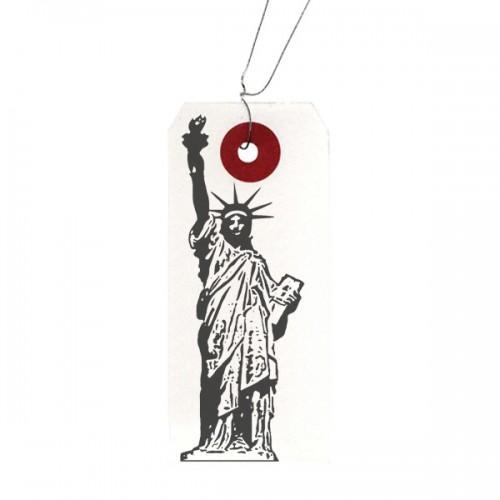 Etiquettes blanches + Tampon bois Statue de la Liberté
