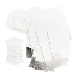 24 silber & weiße hängende Etiketten