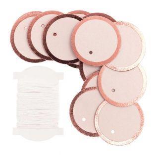 24 étiquettes à suspendre rondes rose...