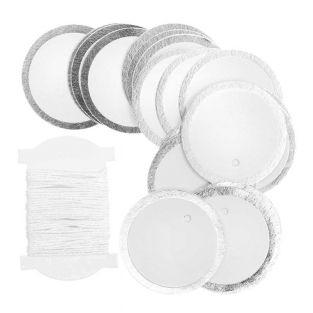 24 white & silver round hanging labels