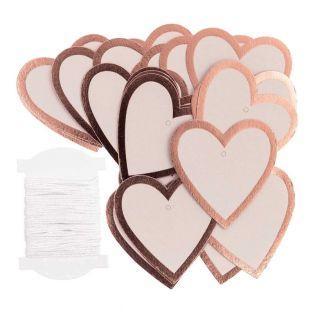 24 pink golden heart hanging labels
